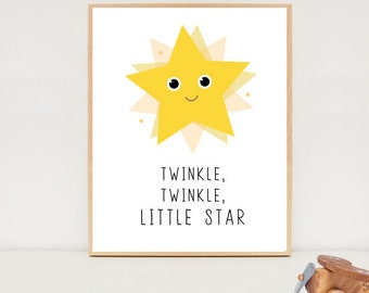 Twinkle twinkle little star quote poster - Digital printable wall art - Nursery wall decor for Boys or Girls