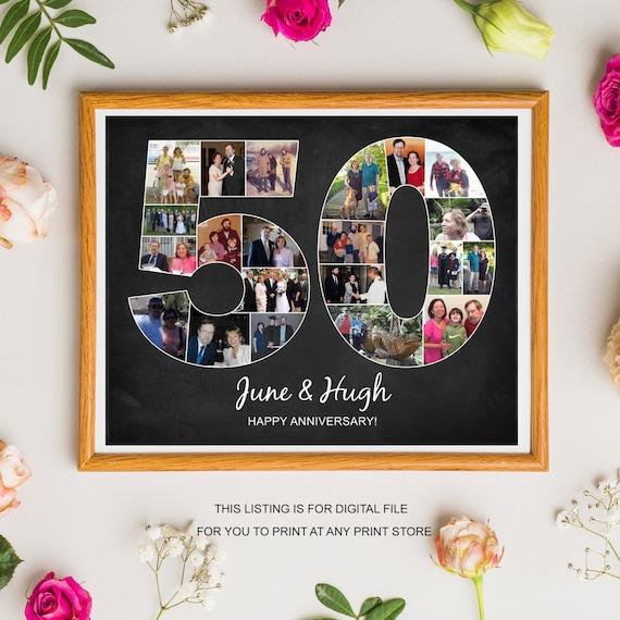 50 Anniversario Photo Collage Per I Genitori Idee Regalo Di Anniversario Per La Moglie Marito Mamma Papà 50 Anni Di Matrimonio Lavagna Foto
