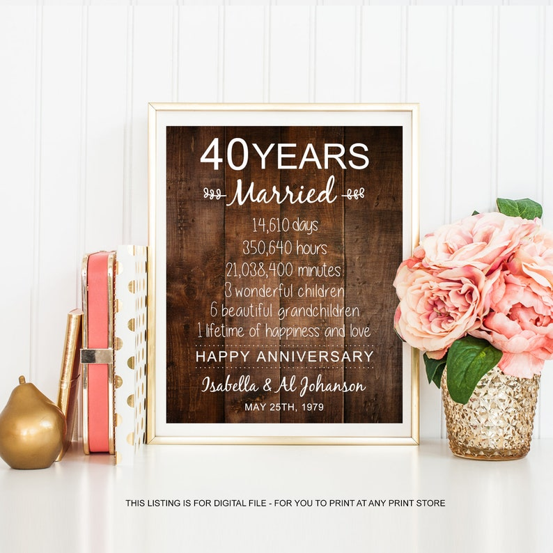 40 years of marriage - Personalized 40th anniversary gift for parents  grandparents mother father mom dad - sign days hours minutes