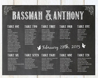 CUSTOM Wedding Seating Chart - Printable Chalkboard Seating Chart - DIGITAL FILE!
