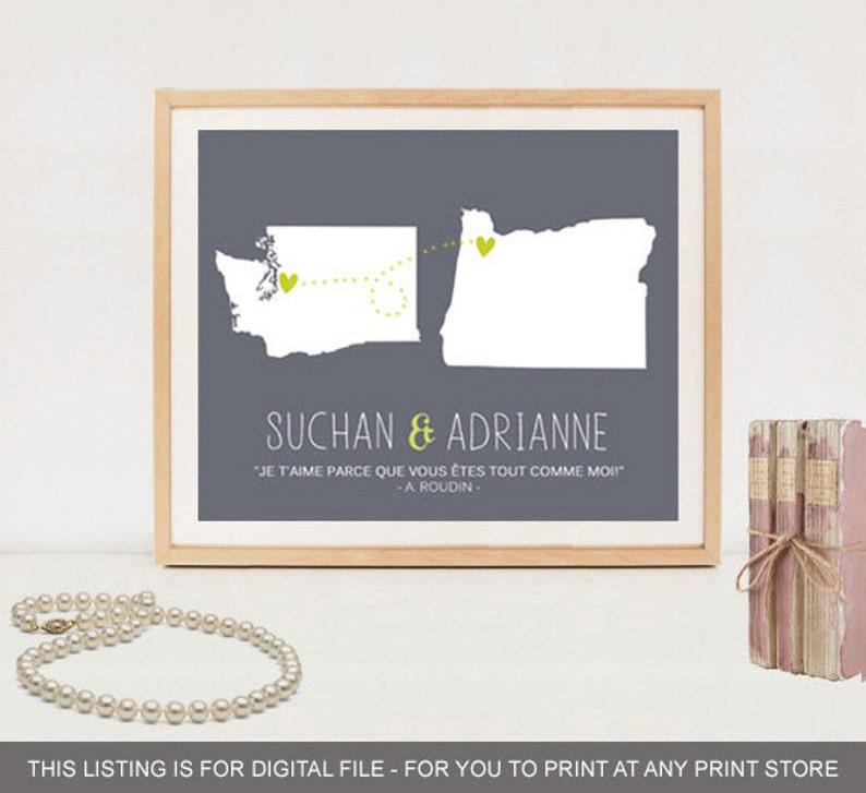 Best Friends Long distance friendship poster - Custom Friendship Gift State  Map Art Print - DIGITAL FILE!