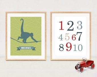 Digital nursery prints - Baby nursery wall art - 123 numbers and monkey wall decoration - 2 in 1