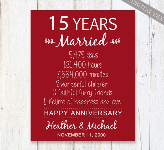 15th Anniversary Gift 15 Years Wedding Anniversary Etsy