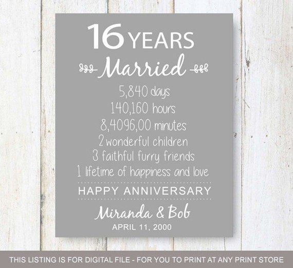 16th Anniversary Gift 16 Years Of Wedding Anniversary Etsy