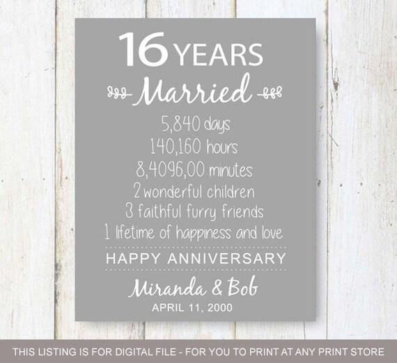 15 Year Wedding Anniversary Sayings: 16th Anniversary Gift 16 Years Of Wedding Anniversary