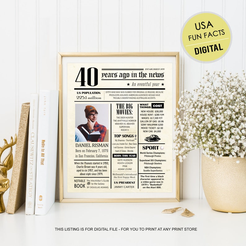 80aa19ebef77b Personalized 40th birthday poster for him men husband son best brother  friend men uncle boyfriend - US Fun facts 1979 wall art DIGITAL FILE!