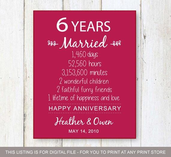 6 Yr Wedding Anniversary Gifts: 6th Anniversary Gift Six Years Of Wedding Anniversary