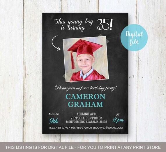 35th Birthday Invitation For Men Chalkboard Collage Photo