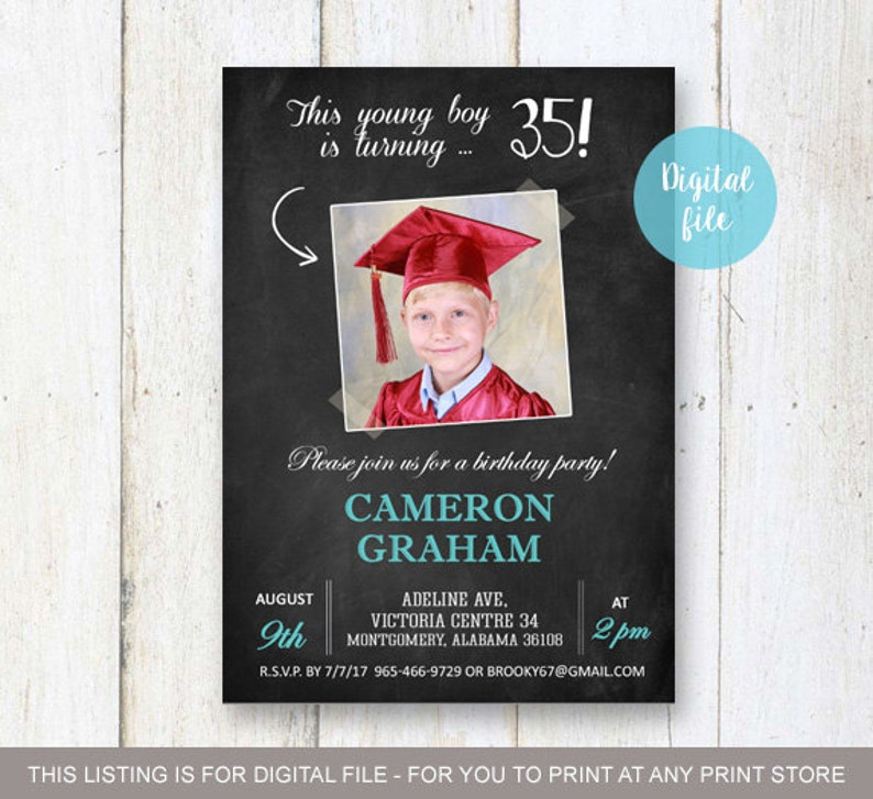 35th Birthday Invitation With Picture For Men Chalkboard