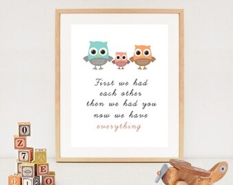 Owls First we had each other nursery wall art - Printable Owl Quotes - Baby girls room decor - INSTANT DOWNLOA