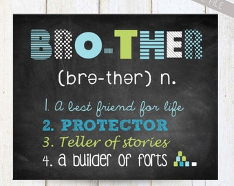 Personalized Brother Wall Art - Brother wall decor - INSTANT DOWNLOAD Baby shower gift - green, blue, grey 8x10 and 11x14
