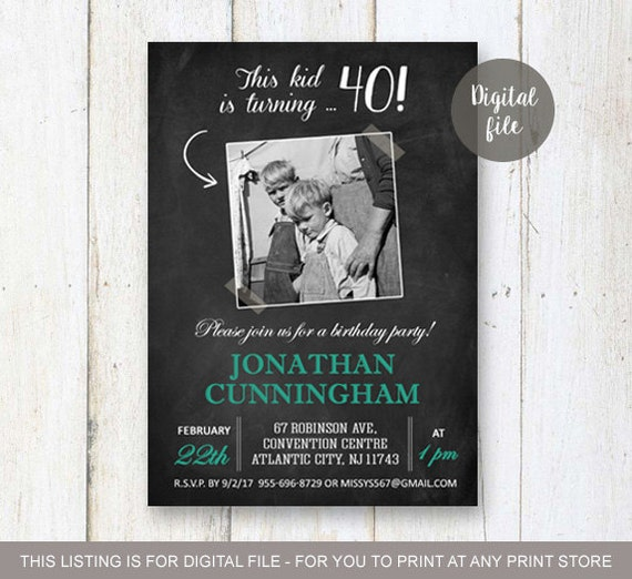40th Birthday Invitation With Picture For Men Chalkboard