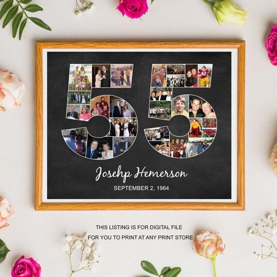 55 Geburtstag Foto Collage Geschenk Fur Manner Frauen Mann Etsy