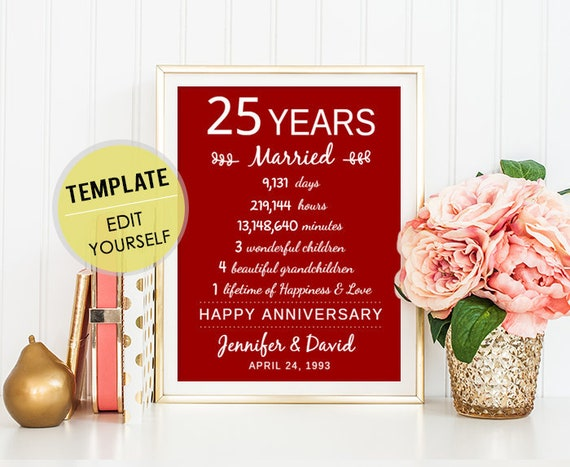 25th Anniversary Gifts For Men: 25th Anniversary Gift For Her Women Men Wife Husband