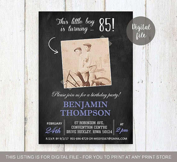 85th Birthday Invitation With Picture For Men Chalkboard