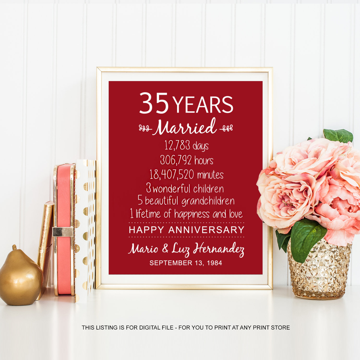 35 Wedding Anniversary Gift For Wife: 35th Anniversary Gift For Her Women Men Wife Him Husband