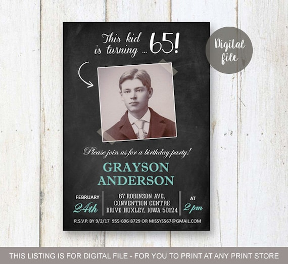 25th Birthday Invitation For Men Personalized Chalkboard