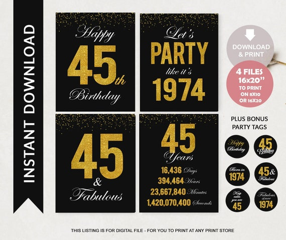 45th Birthday Printable Signs | Black Gold Glitter Birthday Party pack |  Back to 1974 | Cheers to 45 Years Sign Birthday Decorations
