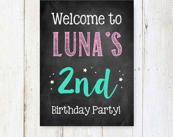 2nd birthday Welcome sign - Second birthday decoration chalkboard sign - Boy or Girl pink and teal custom party decor - DIGITAL FILE!