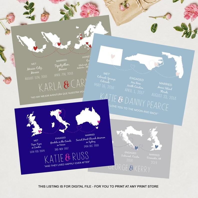 1st anniversary gift for wife Custom wedding map gift for ...
