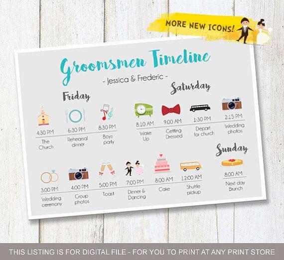 Hochzeitsideen Custom Trauzeugen Timeline Programm Etsy