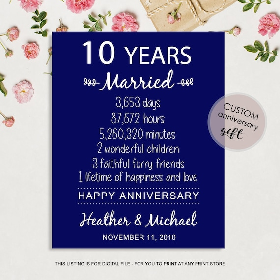 10th Anniversary Gift For Wife Or Husband 10 Years Wedding Etsy