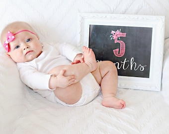 Baby first year chalkboard posters - INSTANT DOWNLOAD - Hot pink Baby Month Photo Prop - Baby girls Monthly printable - 12 files included