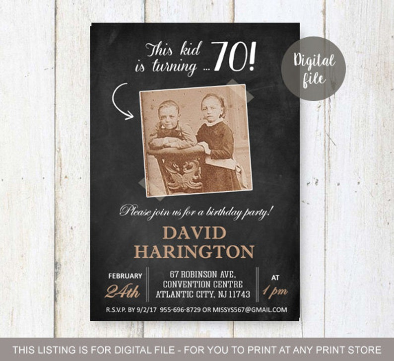 70th Birthday Invitation With Picture For Men Chalkboard
