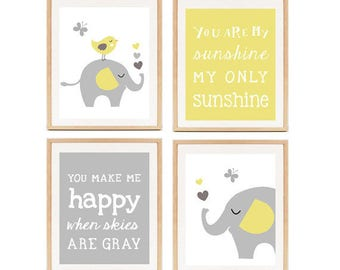 Nursery Yellow and Gray Wall Art - Baby shower Nursery Decor gift - Elephant Prints - set of 4 - INSTANT DOWNLOAD