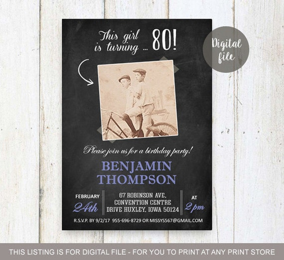 80th Birthday Invitations With Picture For Men