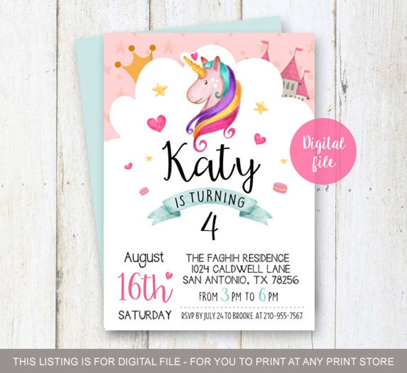4th Birthday Unicorn Invitation L Rainbow
