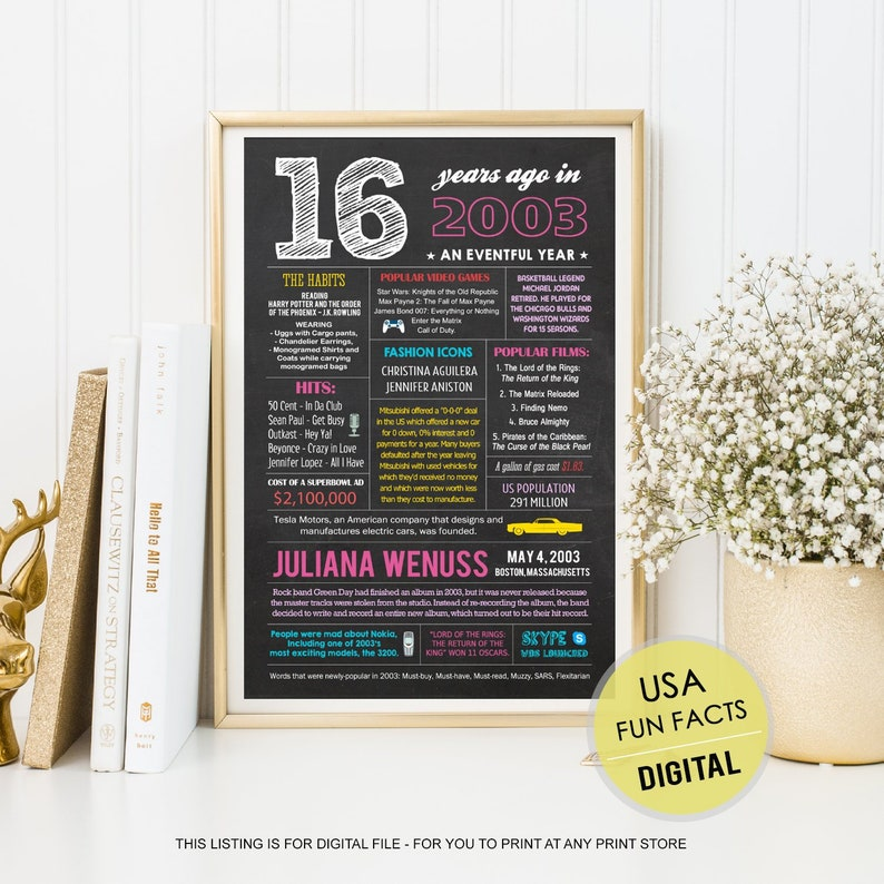 US Facts 2003 16th Birthday Gift For Girl Her Sister