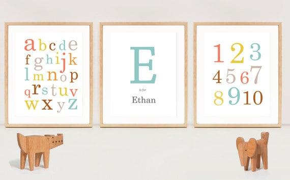 ABC Alfabeto impresiones y 123 números abc y 123 bebé niños | Etsy
