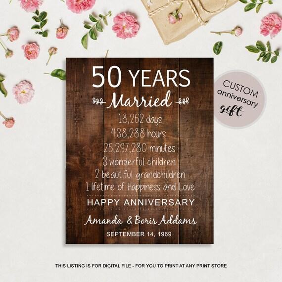 50 Anniversario Idee Regalo Per Coppie E Genitori 50 Anni Etsy