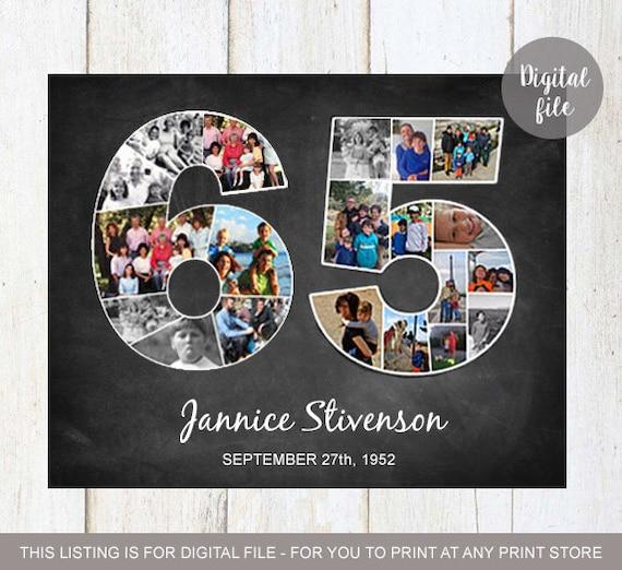 Foto Collage 65 Geburtstag Geschenk 1954 Personalisierte Etsy