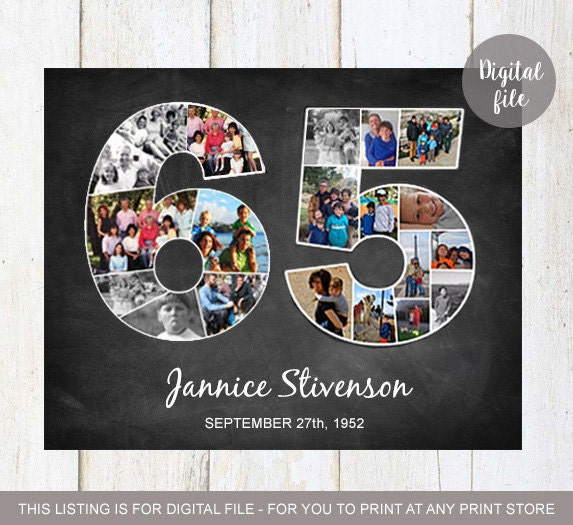 Photo Collage 65th Birthday Gift 1954 Personalized