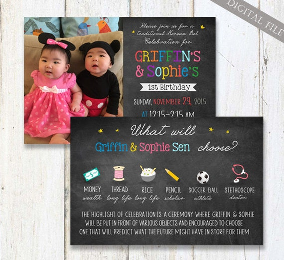 korean twins first birthday invitation 1st birthday twin etsy