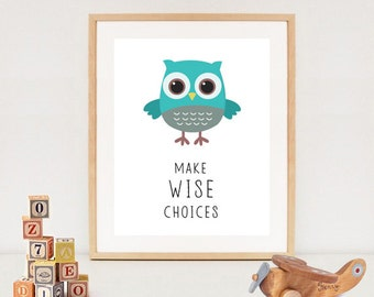 owl printable - Owl baby shower printable poster - Baby boy nursery wall art - INSTANT DOWNLOAD