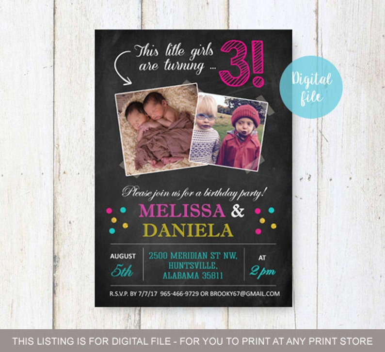 3rd Birthday Invitation For Twins Personalized Chalkboard