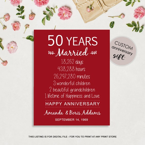 50e Huwelijksverjaardag Cadeau Voor Ouders 50 Jaar Huwelijk Teken Bruiloft Verjaardag Cadeau Idee Voor Haar Hem Mannen Vrouwen Vrouw Man