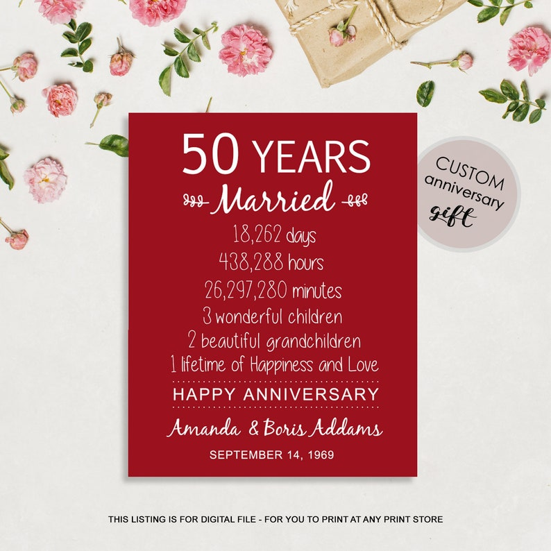 50th Wedding Anniversary Gift For Parents 50 Years Of Etsy