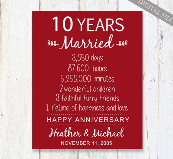 10th Anniversary Wedding Gifts: 10th Anniversary Gift For Wife Or Husband 10 Years Wedding