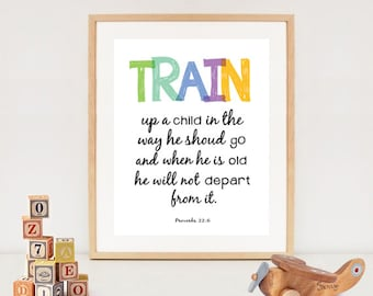 Bible nursery verse printable - Train up your child quote poster - INSTANT DOWNLOAD