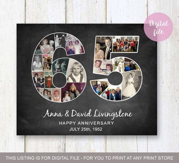 Foto collage 65e verjaardag cadeau voor ouders grootouders for Geen cadeau voor verjaardag