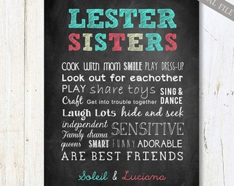 Personalized Sisters wall art -  Gifts for Sister - Custom twin siblings sisters wall art chalkboard sign - Gifts for sister - DIGITAL FILE!