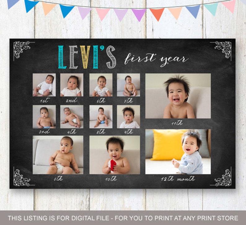 Baby Boy First Year Birthday Collage Sign Custom 1st