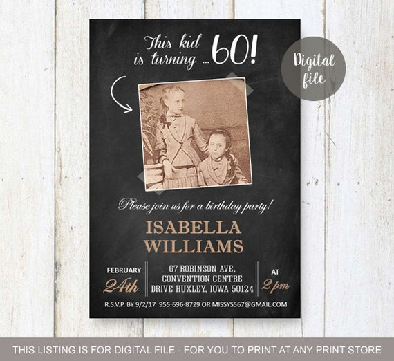 60th birthday invitations chalkboard vintage photo collage etsy image 0 filmwisefo