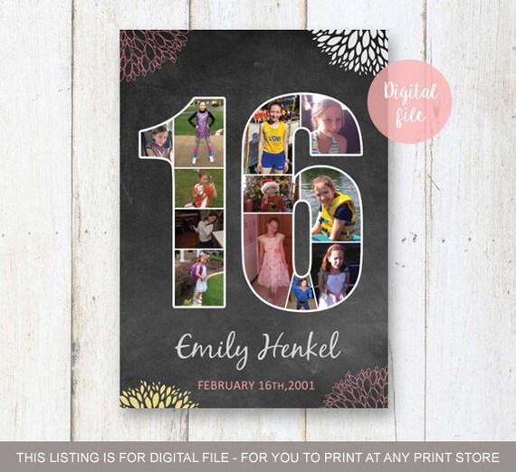 16e Verjaardag Schoolbord Collage Teken Meisjes Achtergrond Etsy