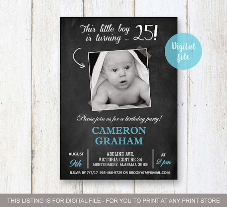 25th Birthday Invitation With Picture For Men Personalized