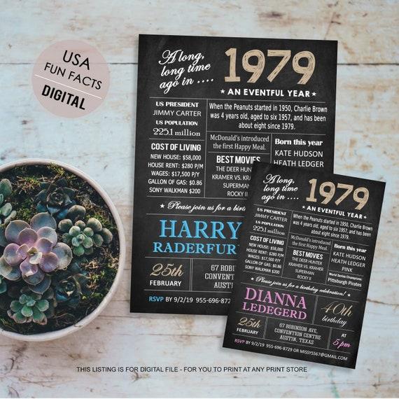 überraschen Sie 40 Geburtstag Einladung Vorlage Tafel 40 Geburtstag Einladen Für Männer Ihn Bruder Mann Vater Boss Interessante Fakten 1979